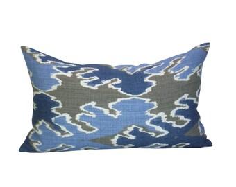 Kelly Wearstler Bengal Bazaar lumbar pillow cover in Grey/Indigo