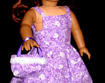 ON SALE 33% OFF Doll Clothes - Purple and White Sundress, Jacket, Headband and Purse Fits American Girl Dolls Or Similar 18 Inch Dolls