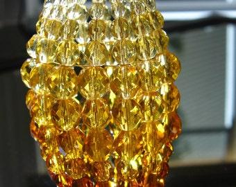 Petite Beaded Light Bulb Cover For Chandelier, Sconce, Candelabra, Vanity, Pendant Lights With Candelabra Base Bulbs, Gold Topaz Amber Glass