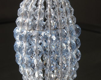 Petite Faceted Ice Blue, Beaded Light Bulb Cover, Chandelier Shade, Sconce Shade, Candelabra Lighting, Lamp Shade