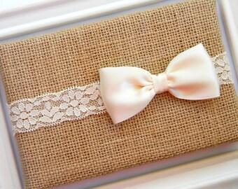 Ivory Bow Headband - Lace Headband - Ivory Satin Bow Headband - Ivory Lace Headband