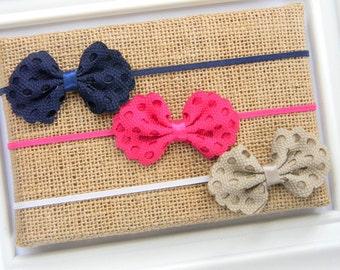 Eyelet Bow Headband - Bow Headband - Baby Bow Headband