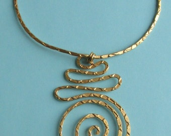 Vintage Necklace Large Dangling Spiral Abstract Hand Made