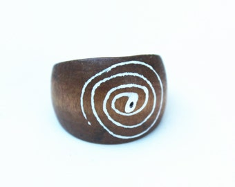 Vintage Tribal Chunky Wood Ring