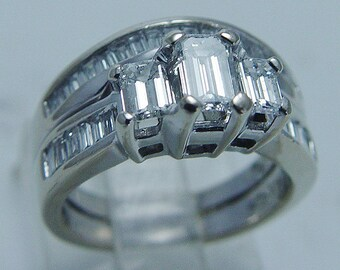 Estate Hallmarked 14K White Gold 1.50cts Diamond double bands Ring engagement