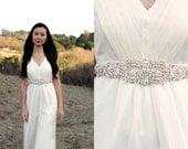 MACKENZIE - Crystal Beaded Bridal Sash with Pearls, Wedding Belt