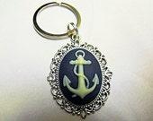 Key Chain, Steampunk Anchor Cameo  Handmade