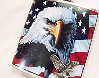 Flask,   American Eagle and Flag 6 Ounce Decorative Flask Mens Gift  Handmade