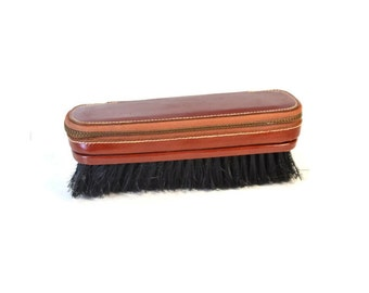 Vintage Brown Leather Zippered Clothes Brush // Grooming Kit // Top Grain Cowhide