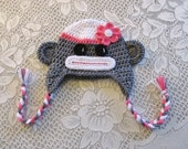 Sock Monkey Crocheted Hat - Photo Prop - Available in Any Size or Any Color Combination