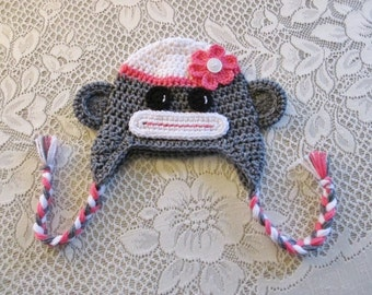 READY TO SHIP - 3 to 5 Year Size - Girl Sock Monkey Crochet Hat - Photo Prop