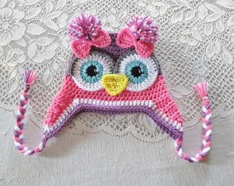 Medium Pink, Medium Purple and White Owl Crochet Hat - Photo Prop - Available in Any Size or Color Combination