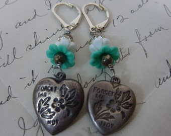 FORGET ME NOT  vintage sterling puffy hearts assemblage earrings
