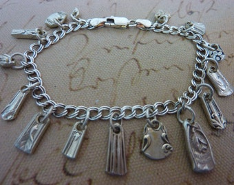 STERLING SILVERWARE CHARM  antique Bracelet with vintage spoons