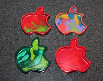 Recycled Crayons. Apple Crayons. Kids Crayons. Apple. Party Favors. Crayons. Set of 6 Crayons. Rainbow Crayons.