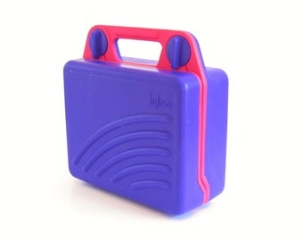 "Igloo Lunchbox Cooler Pink Purple ""Kool Kit"" Plastic Lunch Box Vintage 1990s"