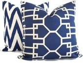Quadrille Royal Blue Brighton Reverse Pillow Cover Square, Eurosham or Lumbar pillow Accent Pillow, Throw Pillow, Toss Pillow