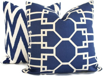 Quadrille Royal Blue Brighton Reverse Pillow Cover Square, Eurosham or Lumbar pillow Accent Pillow, Throw Pillow, Toss Pillow