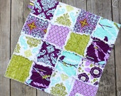 20% Off Summer Sale, Aviary 2 Rag Quilt Lovey in Lilac, Ready to Ship, Purple and Green and Teal