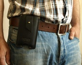 New design sleeve for Iphone 6 PLUS Handmade from thick black italian leather blank great quality with belt loop