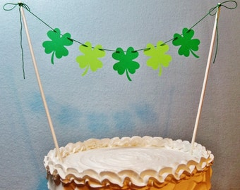 Irish Wedding Cake Topper Garland, Shamrock Bunting, St. Patrick's Day, March Birthday Banner