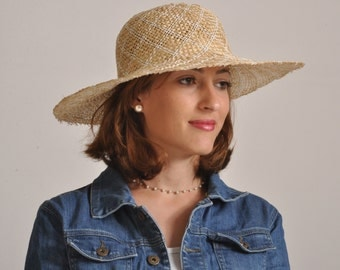wide brim straw hat for women / long brim summer hat/ sun protection ladies hat / large hat / Rana Hats Israel