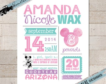 Disney Nursery Print // Birth Stats // Birth Announcement // Baby Girl // Minnie Mouse