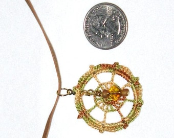 REDUCED - Micro-Crochet Pendant With Beaded Dangle, Faux Suede Cord