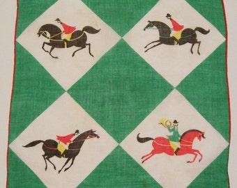 SALE - Vintage Men Riding Horses During Fox Hunt Mid Century Hankie