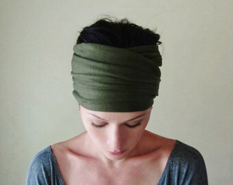 DARK OLIVE Green Head Scarf  - Army Green EcoShag Jersey Hair Wrap - Yoga Headband - Extra Wide Ear Warmer - Womens Hair Accessories