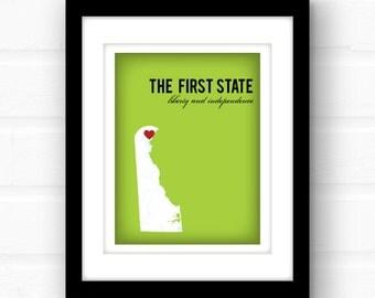 Delaware map // New England decor // Delaware print // custom state wall art