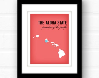 Hawaii Art // Hawaii Map // Hawaii Print // Island Decor // Custom state silhouette wall decor
