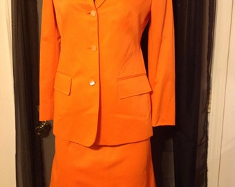 90's Bright Orange Silky GUCCI Skirt Suit Double G Logo Buttons 42