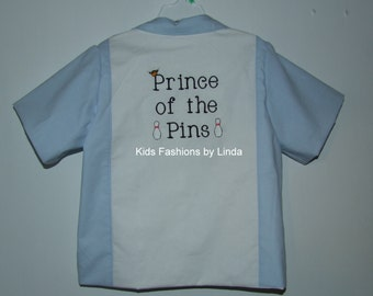 Light Blue/White Prince of the Pins Bowling Shirt