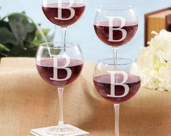 Engraved Initial Wine Glass Set of 4, kitchen, glassware, home, indoor, personalized wine glass, custom, for her, housewarming  -gfy8575820