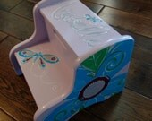 Personalized Step Stool, Kids, Customized, Hand Painted, Wooden, Two steps - Flowers and Butterflies