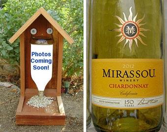 Wine Bottle BIRD FEEDER, Chardonnay. Recycled Chardonnay Bottle, Upcycled, Hand Made (bird seed not included). Ready to Ship.