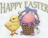 Happy Easter Chick Embroidered Flour Sack Hand/Dish Towel