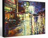 OIL Painting  Giclee Print Canvas Print Fine Art Print of ORIGINAL Painting Landscape Painting USA Cityscape Painting Boulder Street View