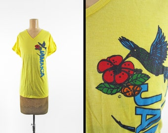 Vintage 80s Jamaica Tank Top Shirt Paper Thin Yellow V Neck Hummingbird T-shirt - Large