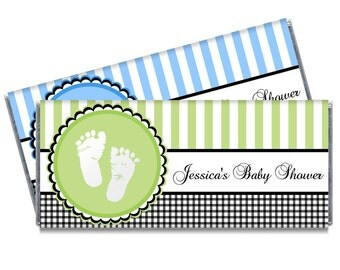 Sweet Baby Feet Green Blue Baby Shower Favors Baby Feet Baby Shower Candy Bar Wrappers