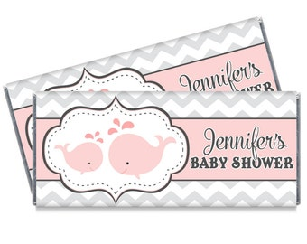 Set of 12 - Girl Baby Shower Pink Whale Candy Bar Wrappers - Whale Baby Shower Favors