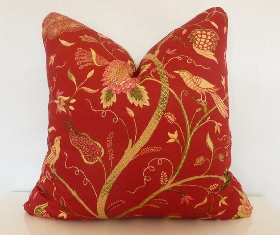 Red Bird Throw Pillow : Red Pillow CoverBird and Floral Decorative PillowNatural by Tanche