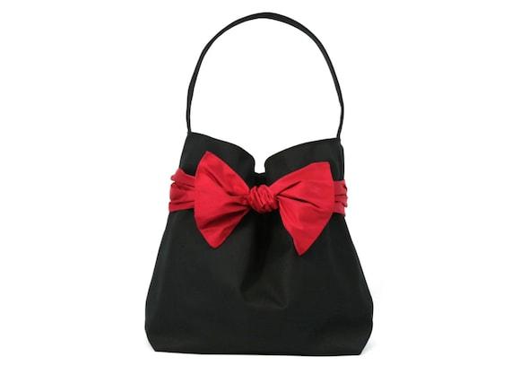 TRENCH, Black cotton gabardine, red poppy silk bow evening bag,bucket bag,shoulder bag,night bag