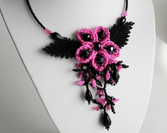 Sale ... Black and Fuchsia Necklace , Flower Necklace, Evening Necklace, Beadwork Jewelry, Bridal jewelry, Crystal Necklace