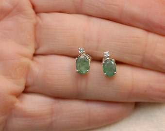 Emerald Earrings with White Sapphire Accents