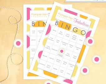 Wedding Shower Bingo Game Pamper Her Fabulous Themed - Instant Download