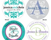 120 - 1.25 inch Personalized Glossy Wedding Stickers Labels - hundreds of designs to choose from - change designs to any color or wording