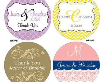 51 - 5 inch Custom Glossy Waterproof Wedding Stickers Labels - hundreds of designs to choose from - change designs to any color or wording