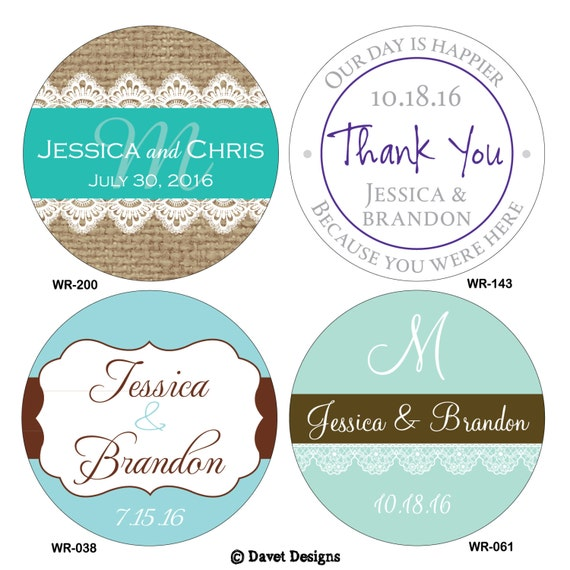 300 1.5 inch Personalized Wedding Stickers Labels - hundreds of designs to choose from - change designs to any color or wording
